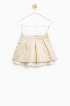 Patterned cotton skirt with tulle lining, Beige, hi-res