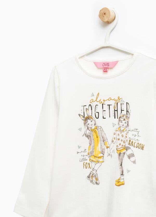Stretch cotton printed T-shirt | OVS