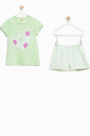 100% Biocotton pyjamas with shorts and T-shirt, White/Green, hi-res