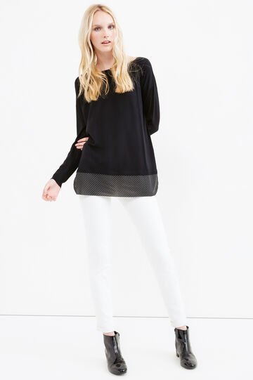Pullover with polka dot patterned faux layer, Black, hi-res