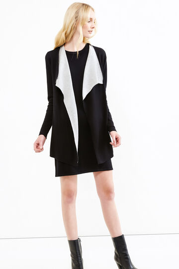 Cotton cardigan with shawl neck, Black/Grey, hi-res