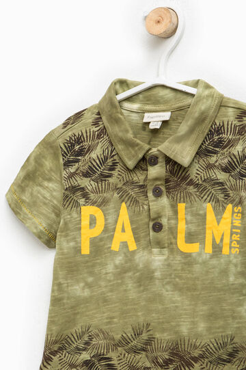 Misdyed-effect T-shirt with print, Army Green, hi-res