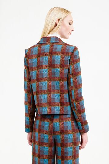 Blazer with tartan pattern and bluff collar., Blue/Brown, hi-res