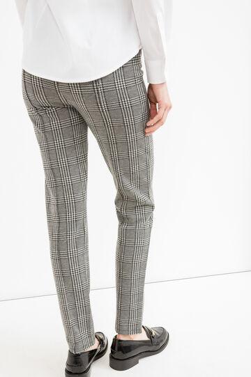 Check pattern stretch trousers, Black/Grey, hi-res