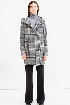 Tartan coat with hood, Black, hi-res