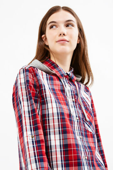 Checked shirt with hood., White/Red, hi-res