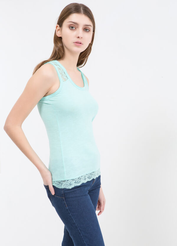 100% cotton top with lace | OVS