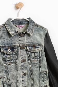 Misdyed-effect denim jacket, Black/Blue, hi-res