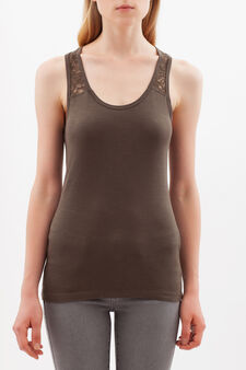 Top with lace yoke, Army Green, hi-res