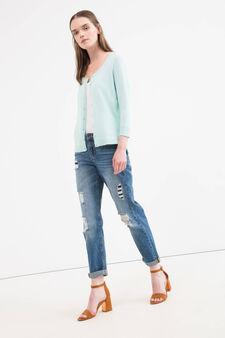 Solid colour cotton blend cardigan, Aqua Blue, hi-res