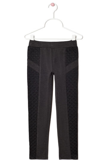 Stretch leggings with stitched detailing, Black/Grey, hi-res