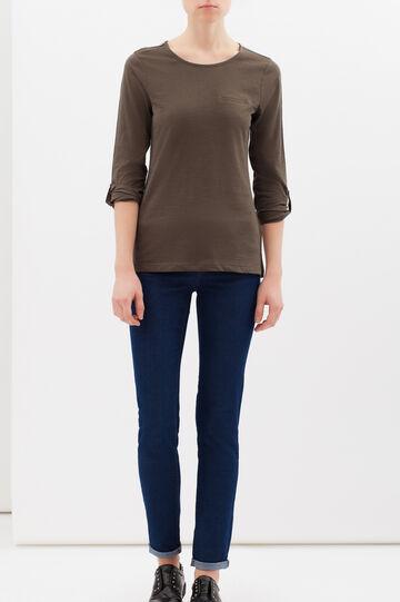 Plain cotton blend T-shirt, Army Green, hi-res