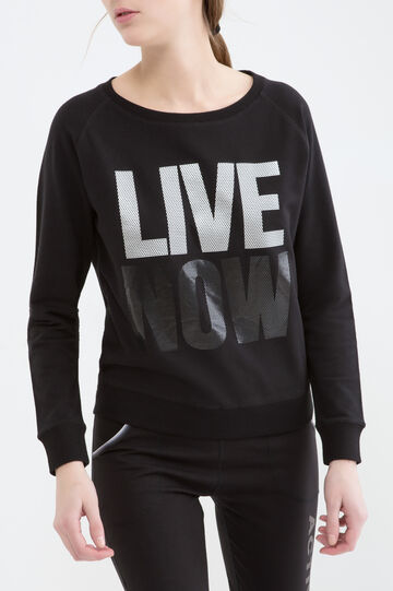 Stretch cotton printed sweatshirt, Black, hi-res