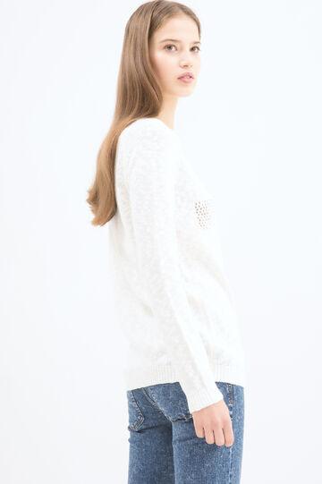 Cotton blend openwork pullover, White, hi-res