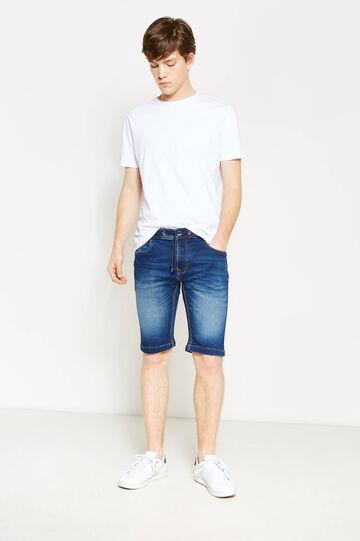 Slim-fit denim Bermuda shorts with whiskering