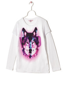 Cotton jersey T-shirt with wolf print, White, hi-res