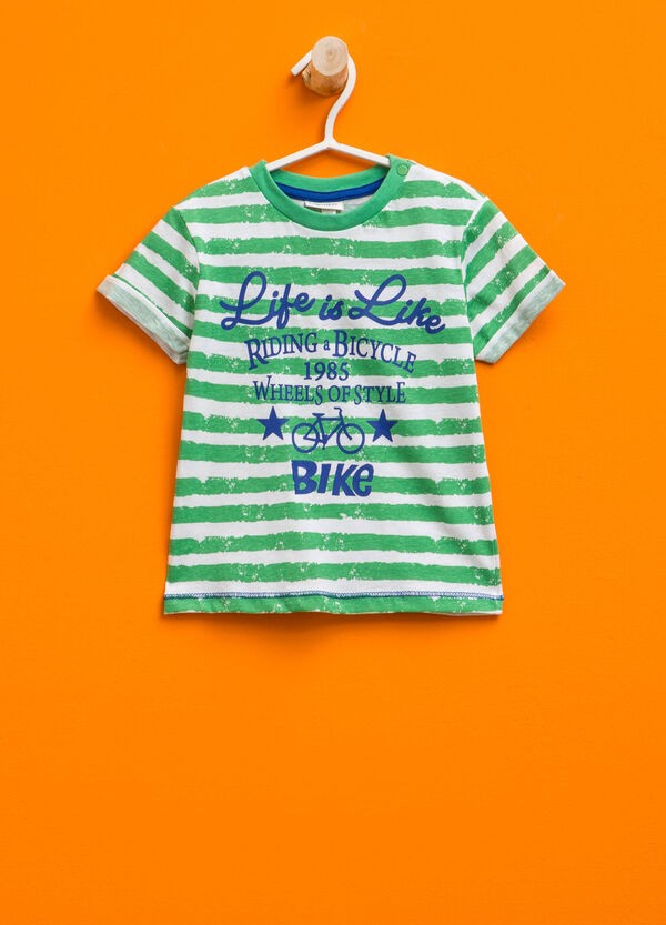 Striped T-shirt with printed lettering | OVS
