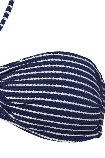 Stretch bandeau top with ring, White/Blue, hi-res