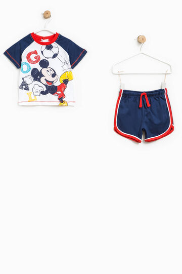 Mickey Mouse T-shirt and Bermuda shorts set, White/Blue, hi-res