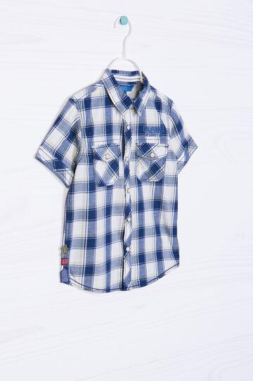 Camicia in puro cotone a quadri, Bianco/Blu, hi-res