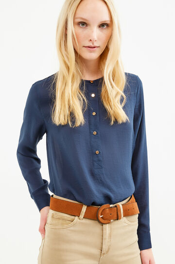 Solid colour mandarin collar blouse, Navy Blue, hi-res