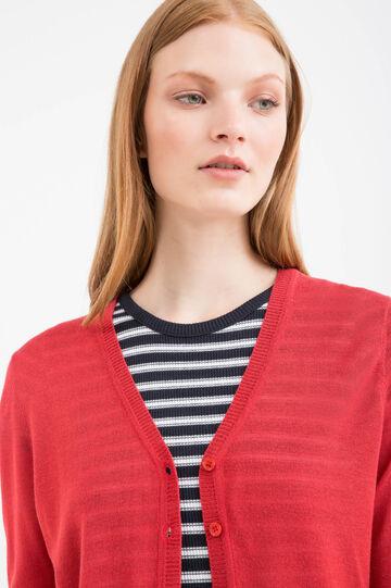 Solid colour viscose blend cardigan, Red, hi-res