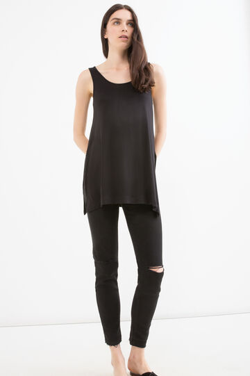 Long stretch viscose top with slits, Black, hi-res