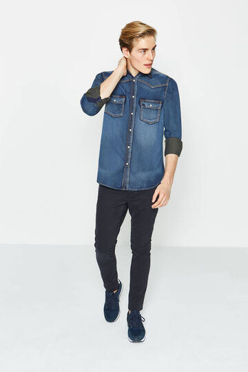 G&H solid colour casual denim shirt