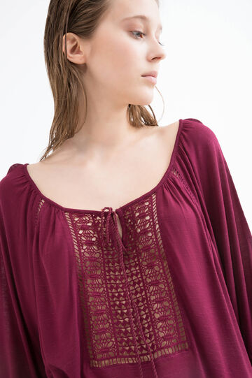 Wide necked T-shirt in 100% viscose, Claret Red, hi-res