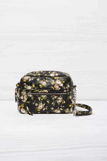 Mini shoulder bag with floral pattern, Black, hi-res
