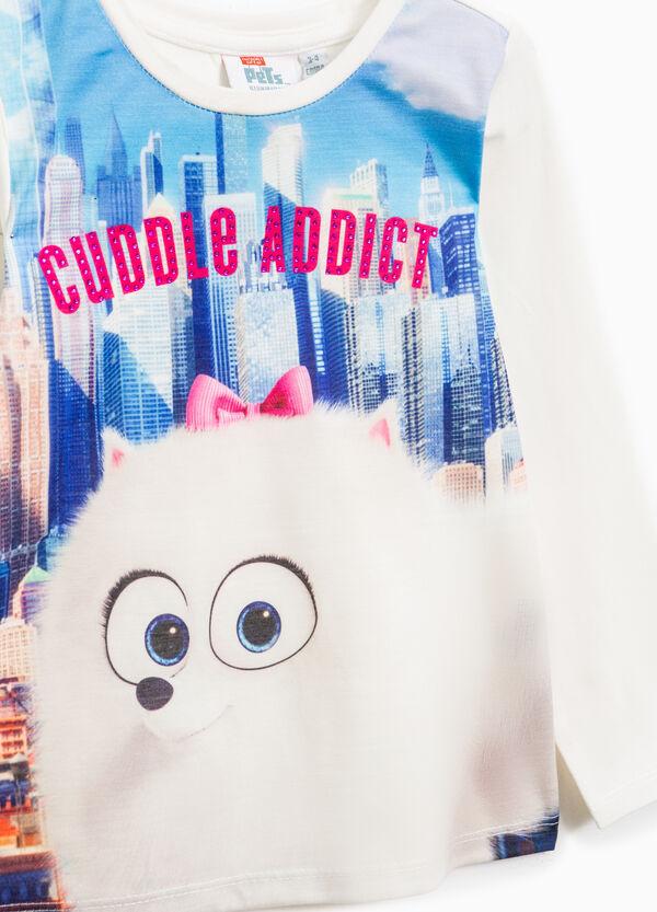 Pets print stretch cotton T-shirt | OVS