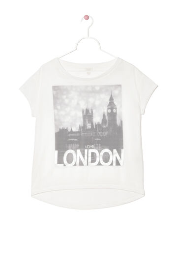 T-shirt con stampa a contrasto, Bianco, hi-res