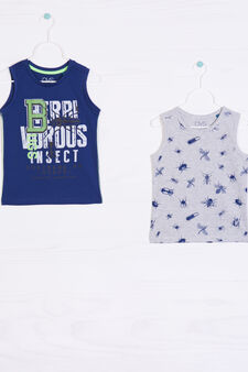 Two-pack printed cotton vests, Blue/Grey, hi-res