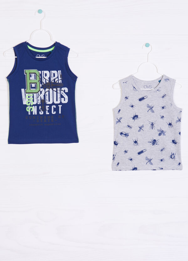Two-pack printed cotton vests | OVS