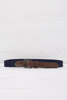 Belt with leather look inserts, Blue, hi-res