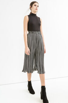 High-waisted crop trousers with stripes, White/Black, hi-res