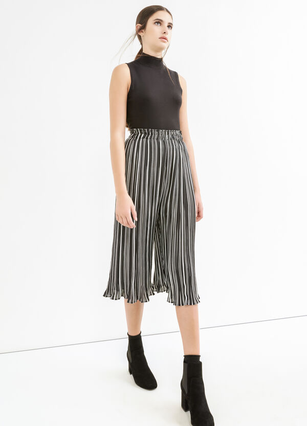 High-waisted crop trousers with stripes | OVS