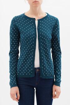 100% cotton printed cardigan, Malachite Green, hi-res