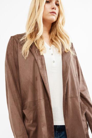 Curvy leather-look suede jacket, Brown, hi-res