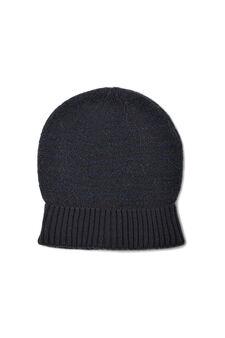 Knitted beanie cap, White/Blue, hi-res