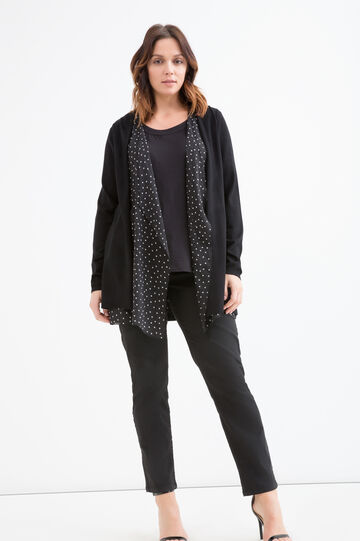 Curvy polka dot faux layer cardigan, Black, hi-res
