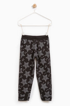 Cotton joggers with star pattern, Black, hi-res