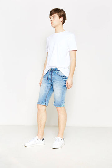 Slim-fit stretch denim Bermuda shorts