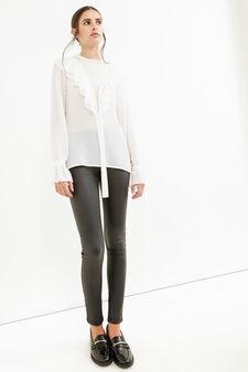 Solid colour blouse with flounces, White, hi-res
