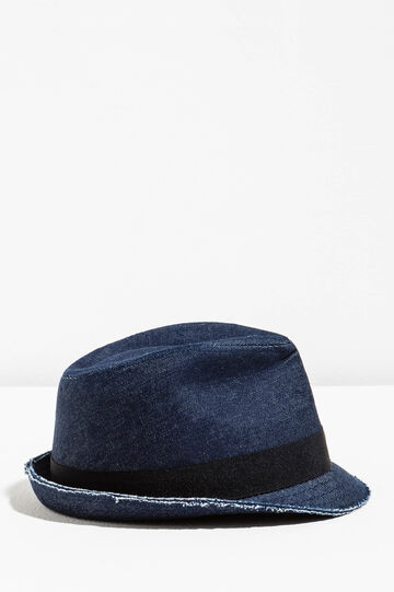 Wide-brimmed hat with raw edge, Denim Blue, hi-res