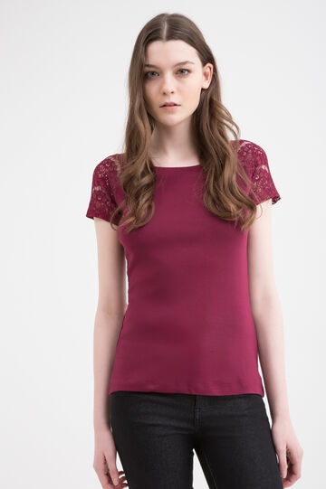 Cotton T-shirt with openwork sleeves, Claret Red, hi-res