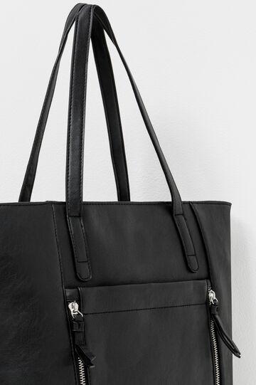 Shoulder bag with open front pocket, Black, hi-res
