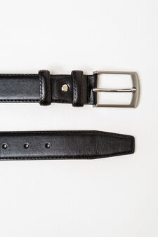 Leather look belt with rectangular buckle, Black, hi-res