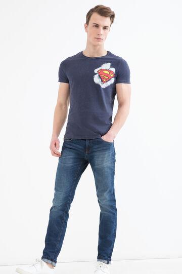 T-shirt cotone stampa eroi, Blu, hi-res