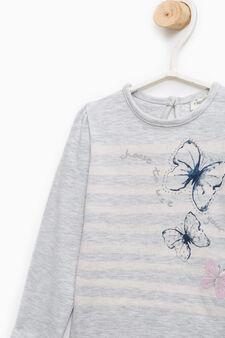 Cotton T-shirt with print and diamanté motif, Grey, hi-res